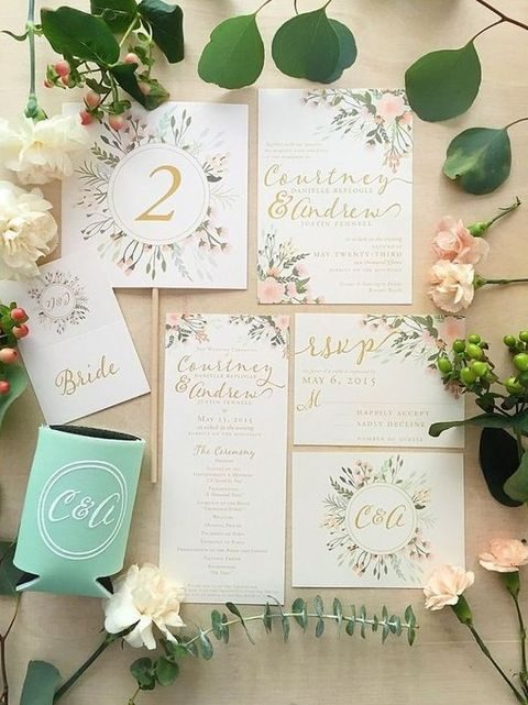greenery and flower stationery in pastels
