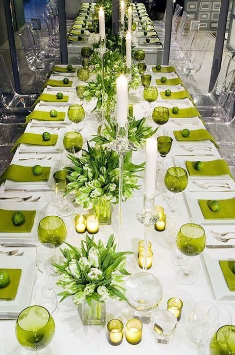 greenery and white table decor with bold napkins and glasses