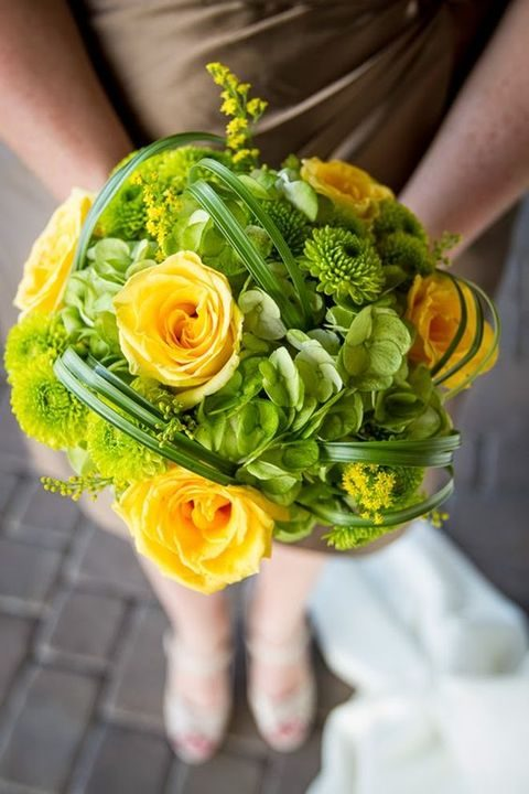greenery and yellow bridesmaid's bouquet