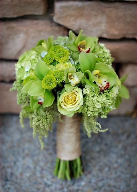 greenery color bouquet with yellow additions