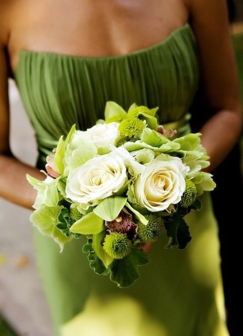 greenery-colored bridesmaid's dress and bouquet