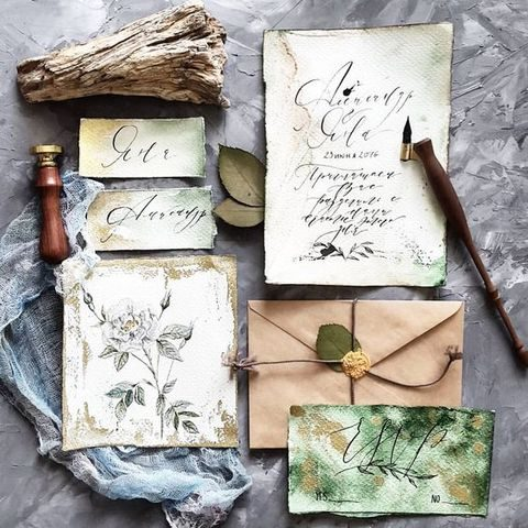 hand-illustrated botanical-inspired weddign staionary