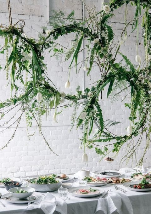 hanging greenery hoops with white tulips