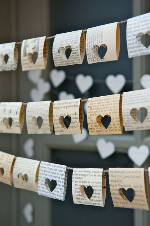 heart cutout book pages turned into banners