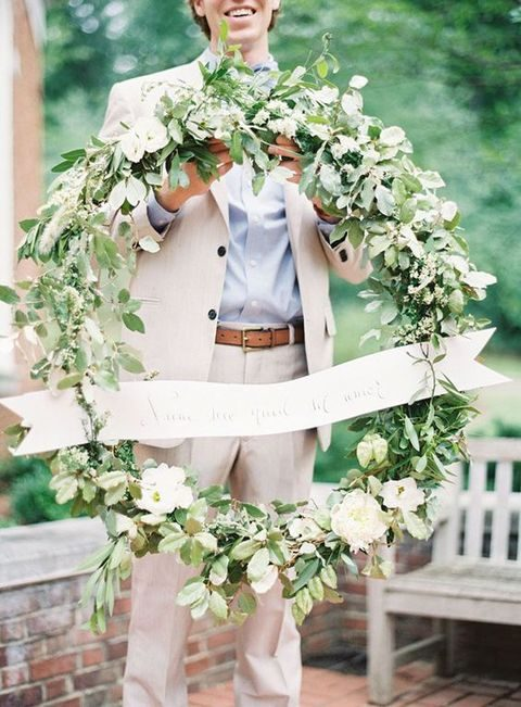 large ivory flower and greenery wreath