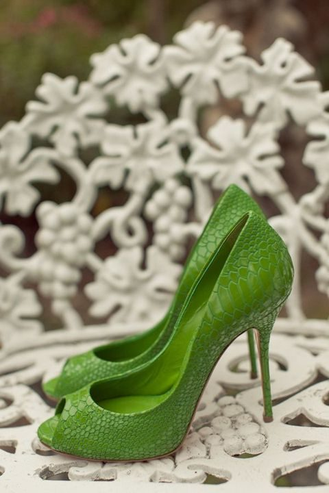 lime green crocodile leather shoes