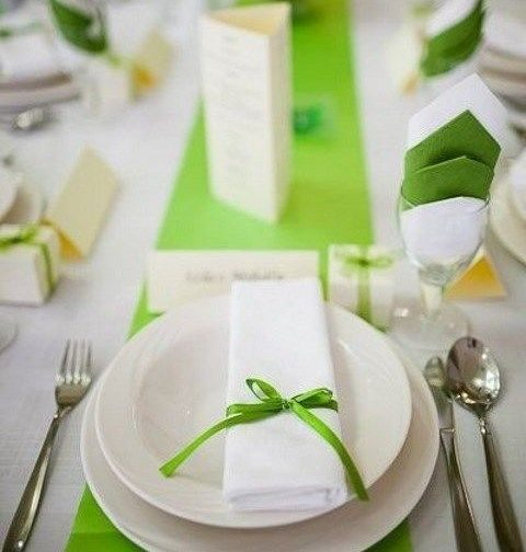 lime green touches for wedding reception decor