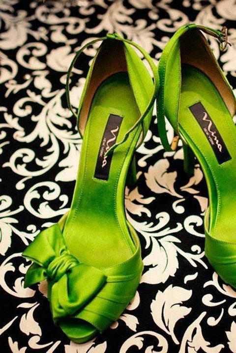 lime green wedding shoes with bows
