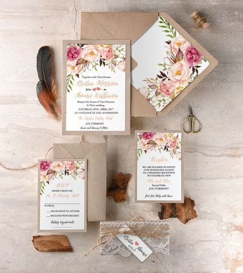 lush floral invites with twine and lace