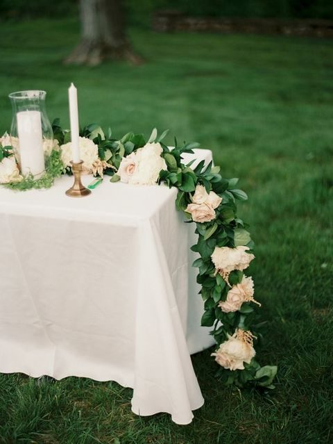 lush greenery and blush flower garland
