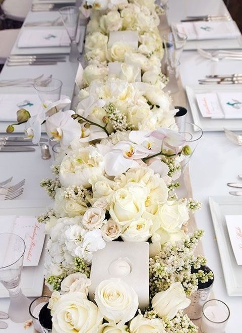 lush ivory flower table runner