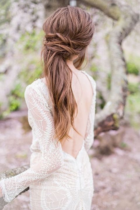messy twisted low ponytail