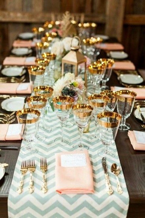 mint and ivory chevron table runner