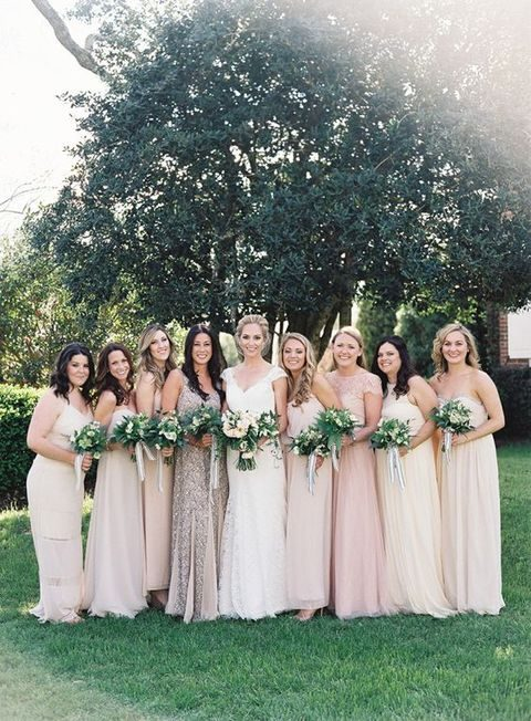 mix-and-match neutral bridesmaids' looks