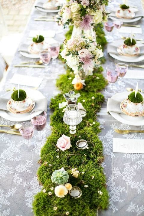 moss table runner with fresh blooms and rhinestones