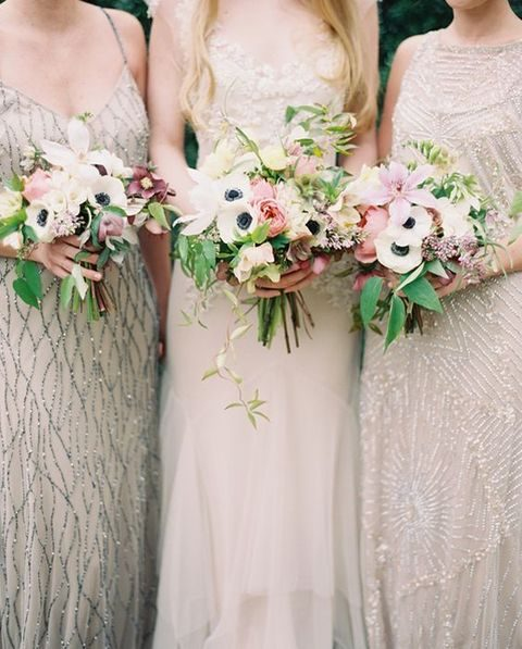 neutral bridesmaids' dresses