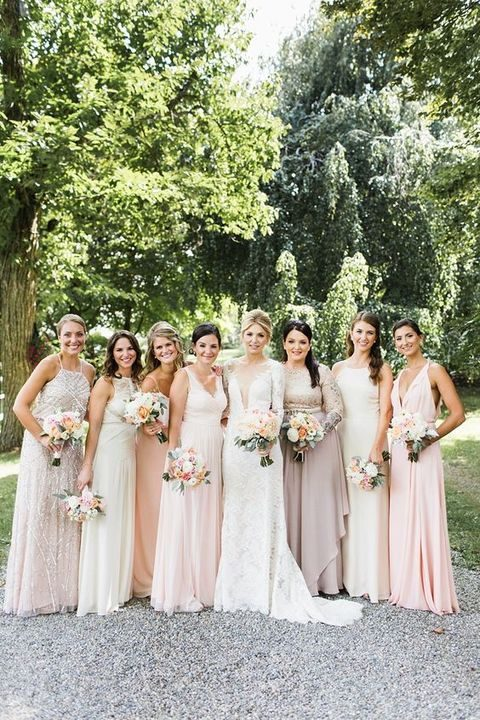 neutral mix-and-match bridesmaids' maxi gowns