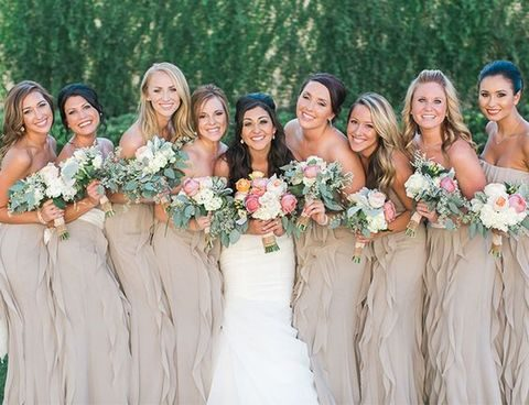 neutral ruffled bridesmaids' dresses