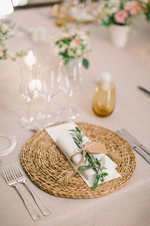 neutral rustic table with a wicket placemat