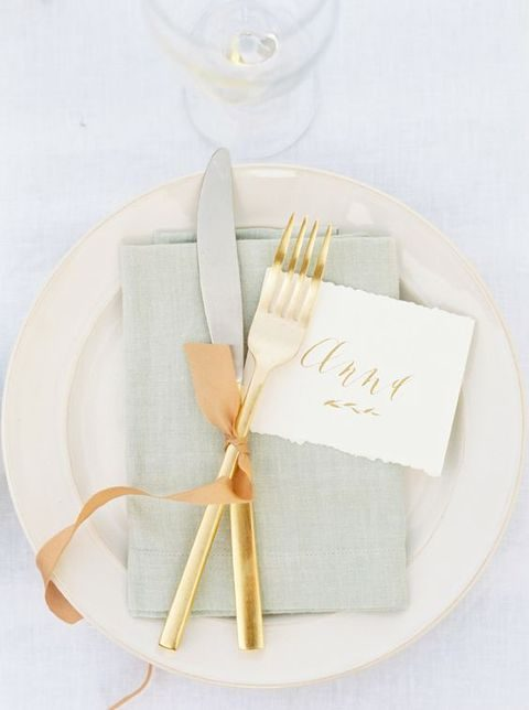 neutral spring placemat with gold tableware