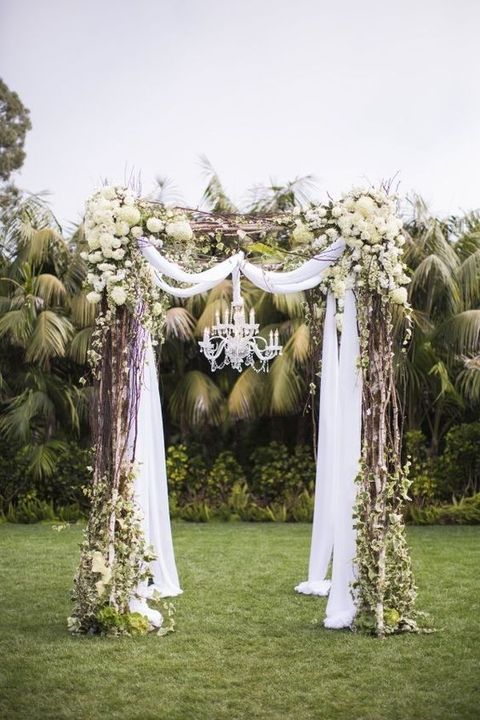 Gazebo Decorations With Hydrangeas Ivy Vines And Tulle Flower