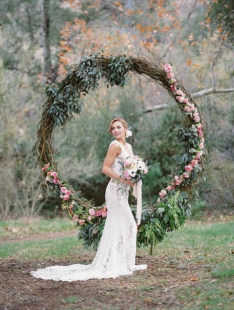 oversized wedding wreath with greenery and flowers