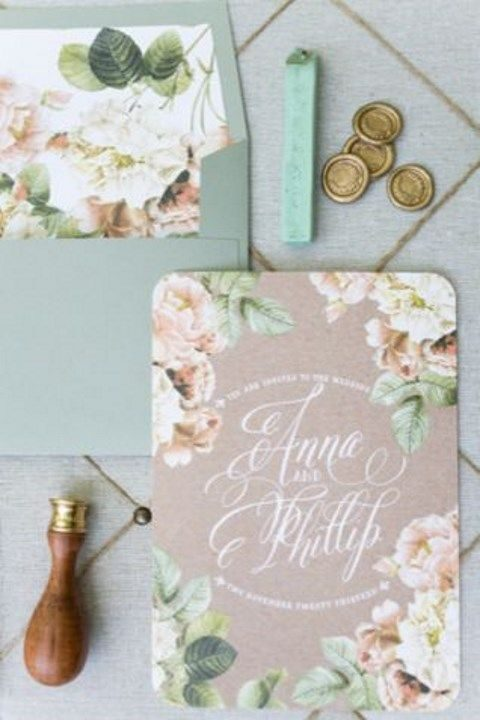 pastel floral stationery with calligraphy