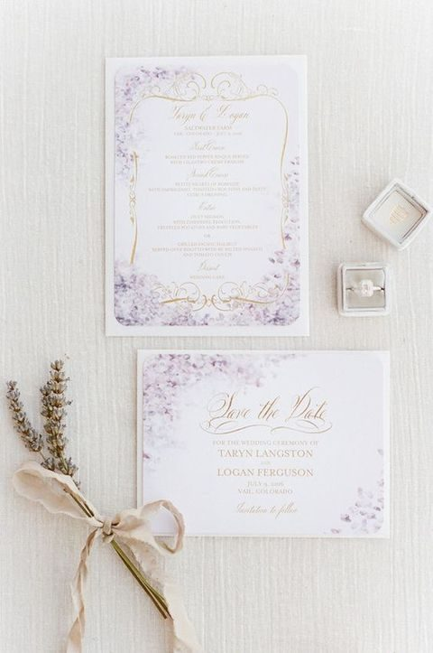 pastel lavender wedding stationery looks subtle and beautiful