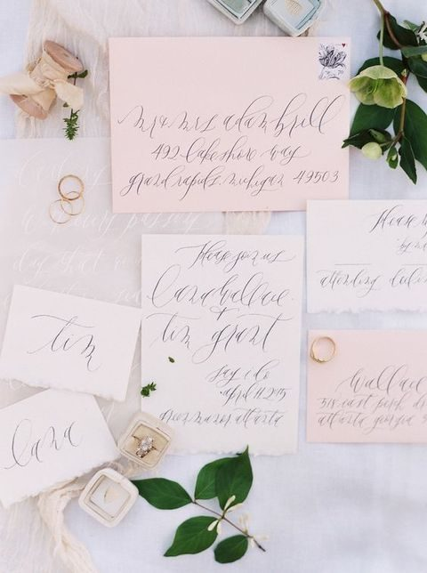 pastel stationery with calligraphy is a delicate idea