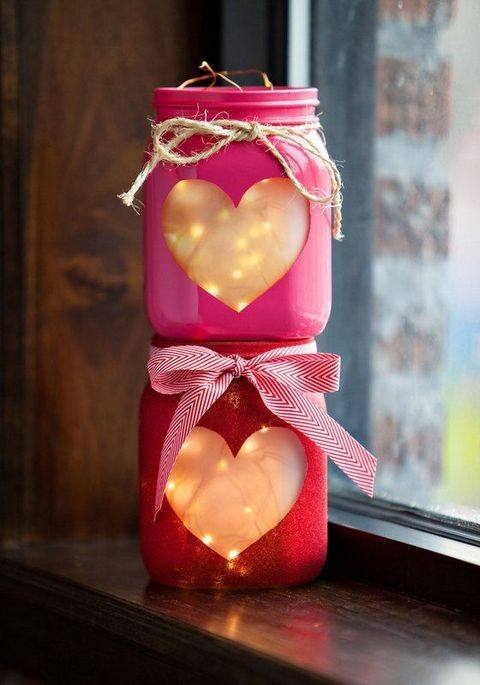 pink Valentine heart luminaries with LEDs
