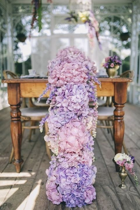 pink and purple hydrangea floral table runner