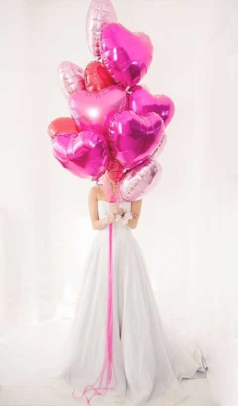 pink heart balloons for decor and taking pics or instead of a traditional bouquet