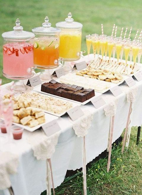 pretty dessert table and three different drinks