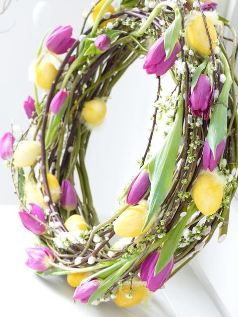 pussy willow and colorful tulip wreath screams spring