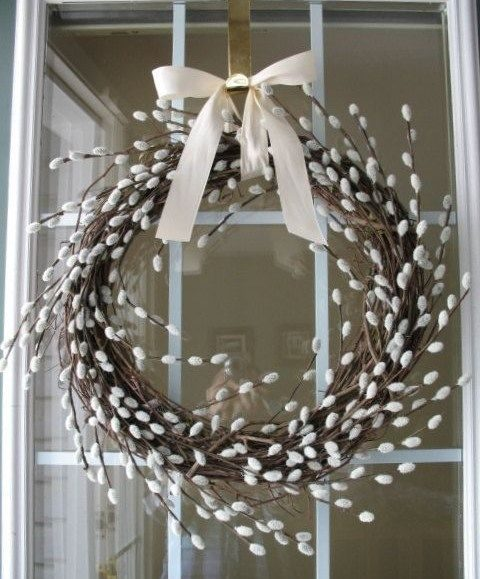 pussy willow wreath with an ivory box