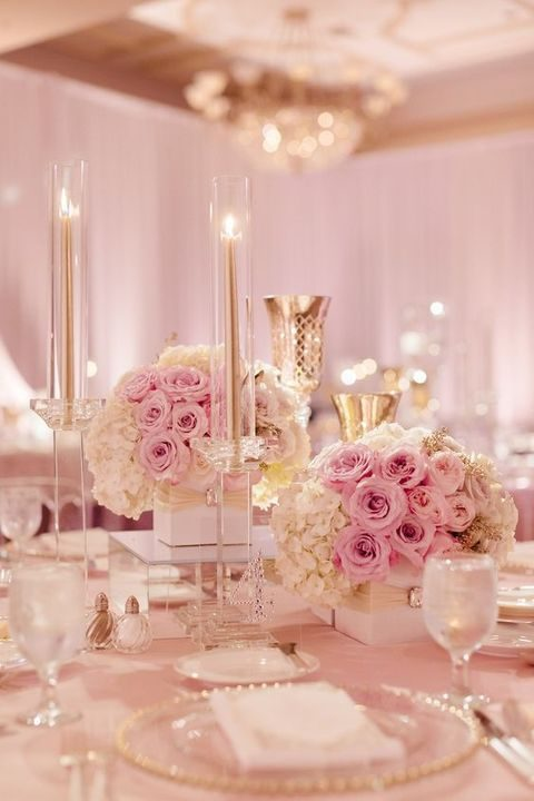 refined dusty pink and ivory tablescape
