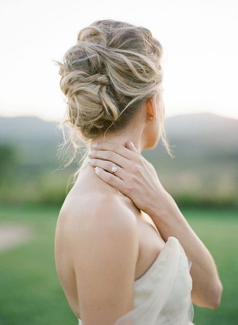soft twisted messy updo