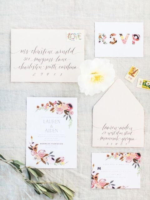 spring watercolor wedding stationery