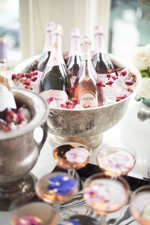 tea roses in ice cubes and fresh flowers for drinks