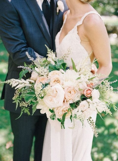 textural wedding bouquet in blush shades