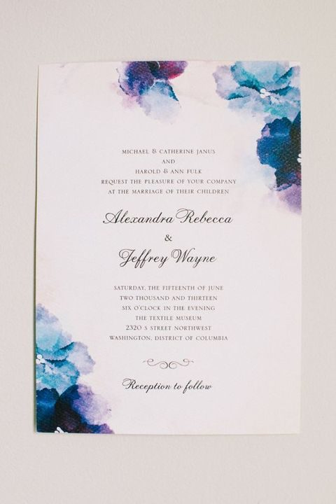 watercolor blue and purple invitations