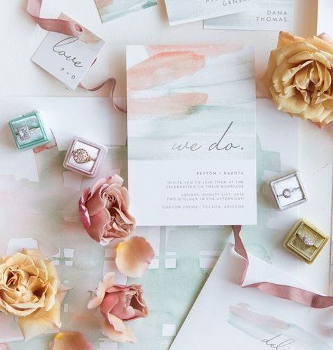 watercolor blush and green stationery