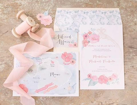 watercolor flower wedding invites