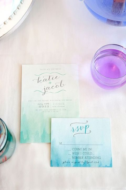 watercolor green and blue wedding invites