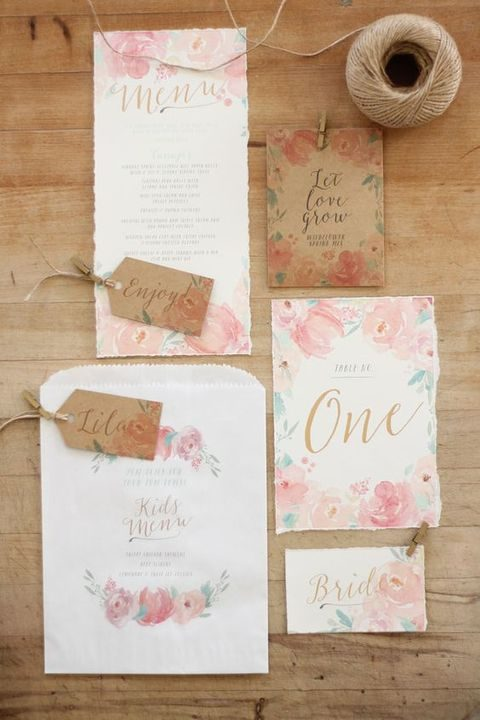watercolor peonies stationery