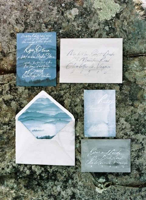 watercolor seaside inspired wedding stationary