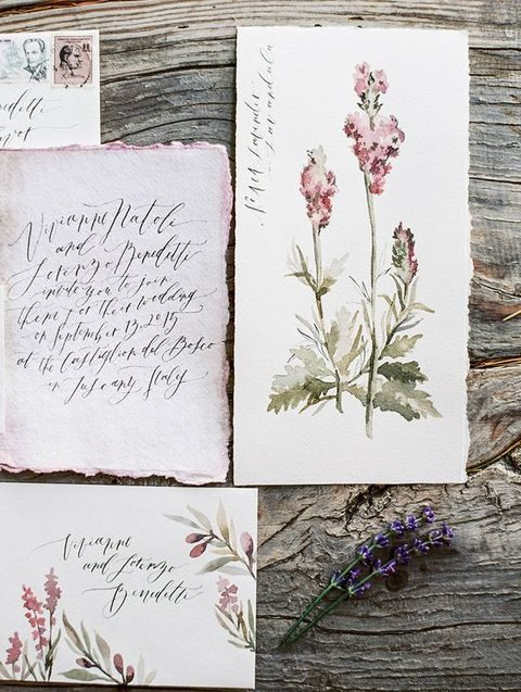 watercolor wildflower wedding staionary