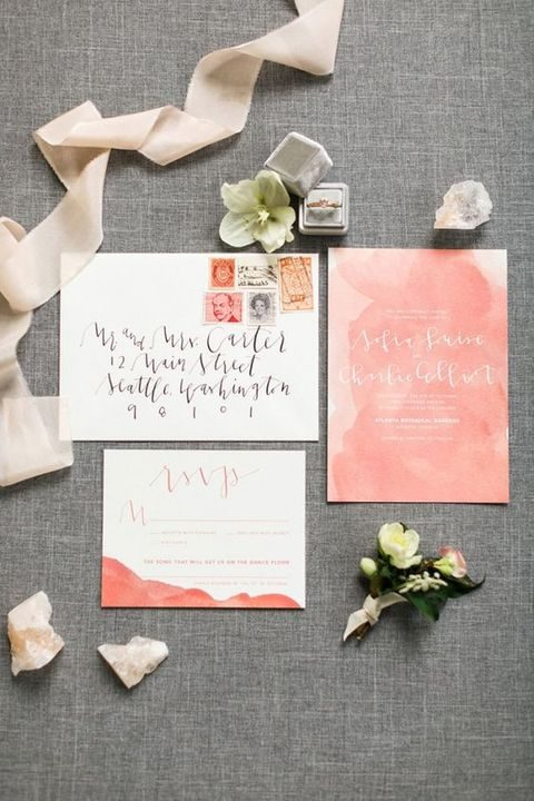 watercolro peach wedding stationary