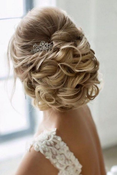 wavy updo, long hair and a beaded hairpiece