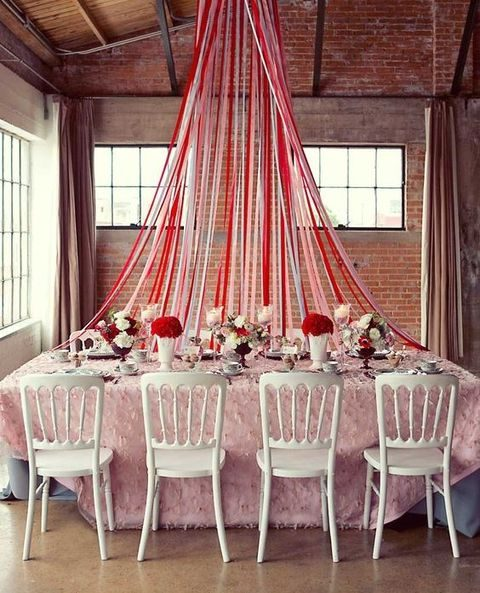 whimsy pink and red table decor for your bridal shower